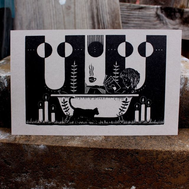 """""""Ritual"""" print is also back in stock, now on gray paper. It's books and baths season.   #reliefprint #printmaking #ritual #bath #blackcat #books #ursulakleguin #candles #moons #rest"""
